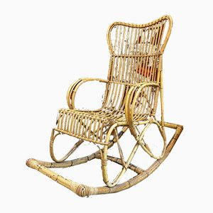 Rocking Chair en Rotin, 1960s