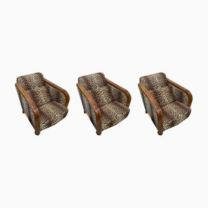 Art Deco Lounge Chairs, 1930s, Set of 3