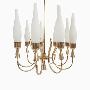 9-Arm Bass and Opaline Glass Chandelier by Angelo Lelli for Arredoluce, 1950s
