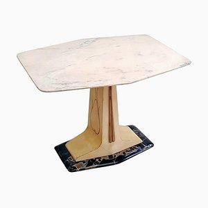 Tavolino da caffè Mid-Century in pergamena con ripiano e base in marmo, 1959