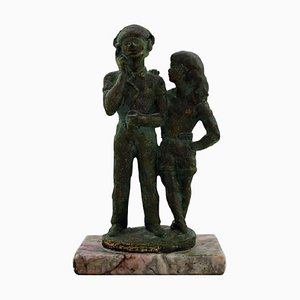 Swedish Bronze Young Couple Sculpture on Marble Base by Eric Demuth