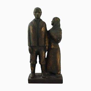 Bronze Elderly Couple Sculpture on Marble Base, 1950s
