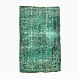 Large Vintage Turkish Green and Black Distressed Overdyed Wool Rug