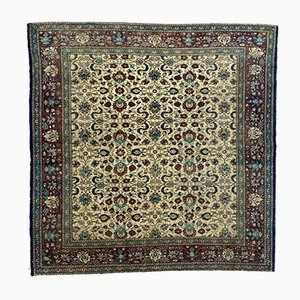 Turkish Square Blue, Green & Beige Distressed Wool Rug, 1950s