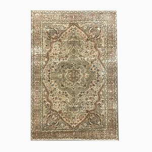 Large Turkish Hand-Knotted Pink and Beige Distressed Rug, 1950s