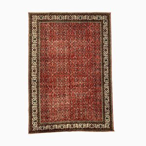 Large Turkish Hand-Knotted Pink, Red & Beige Distressed Rug, 1960s