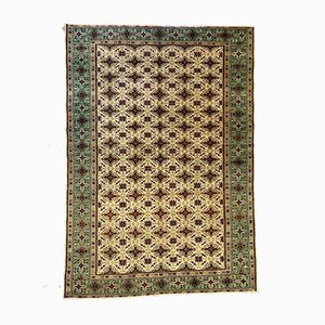 Large Turkish Hand-Knotted Blue, Green & Beige Distressed Rug, 1960s