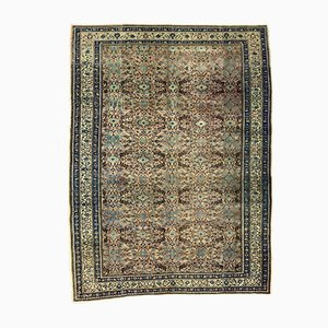 Large Turkish Hand-Knotted Pink, Blue & Beige Distressed Rug, 1960s