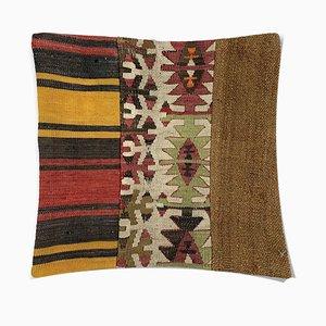 Quadratischer Vintage Kelim Kissenbezug mit marokkanischem Dekor