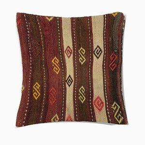 Housse de Coussin Kilim Vintage en Laine Carrelée avec Décor Marocain