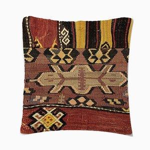 Cuscino Kilim vintage in lana con decorazioni marocchine