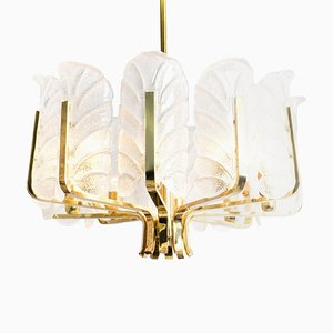 Large Glass Leaves Brass Chandelier by Carl Fagerlund for Orrefors, 1960s