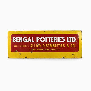 Advertising Enameled Bengal Potteries Sign, 1950s