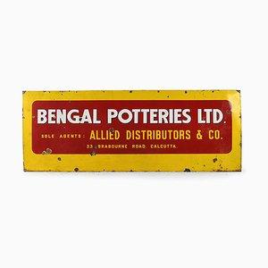 Emailliertes Bengal Potteries Werbetafelschild, 1950er