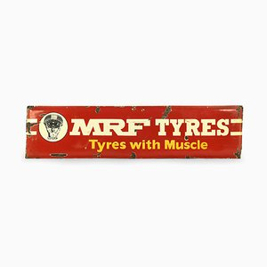 Advertising Enameled MRF Tires Sign, 1950s