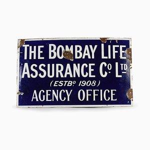 Emailliertes The Bombay Life Assurance Schild, 1950er