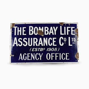 Enameled The Bombay Life Assurance Sign, 1950s