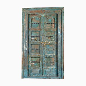 Wooden Door with Blue Patina, 1920s