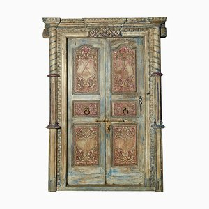 Carved Wooden Door with Blue Patina, 1920s