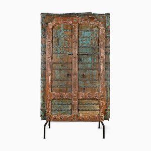 Holztür mit Blauer Patina, 1920er