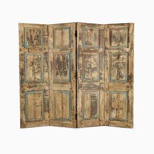 4-Wing Wandschirm aus Holz mit Patina, 1940er