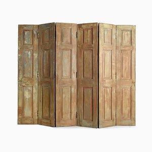 6-Wing Wandschirm aus Holz mit Patina, 1940er