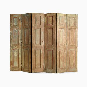 6-Wing Wooden Screen with Patina, 1940s