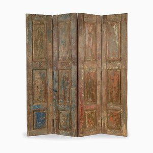 4-Wing Wooden Screen with Patina, 1940s