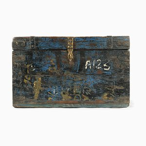 Wooden Chest with Blue Patina, 1940s