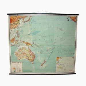 Mapas escolares checoslovacos vintage de Australia y Oceanía, años 50