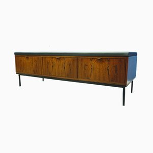 Mid-Century Leather Bench with Drawers, 1960s