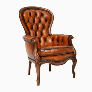 Mid-Century Leather and Mahogany Spoon Back Armchair, 1950s