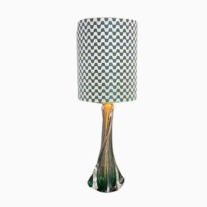 Mid-Century Belgian Green Glass Table Lamp from Val Saint Lambert