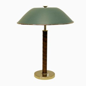 Swedish Brass and Leather Table Lamp from Nordiska Kompaniet, 1940s