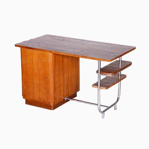 Bauhaus Czech Oak and Chrome Desk from Hynek Gottwald, 1930s