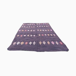Turkish Nomadic Square Goat Hair and Embroidered Kilim Rug, 1970s