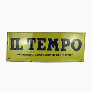 Italian Acid Yellow and Blue Enamel Metal Il Tempo Newspaper Sign, 1950s