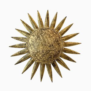 Mid-Century Spanish Sunburst Flush Mount Ceiling Lamp by Ferro