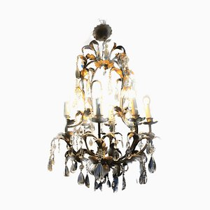 Antique French Chandelier with Gold Leaves