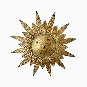 Mid-Century Spanish Gilt Sunburst Ceiling Lamp, 1950s
