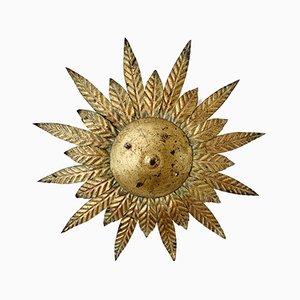 Spanische Vergoldete Mid-Century Sonnen Lampe, 1950er