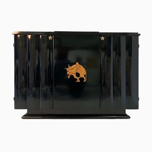 Art Deco Black and Maple Sideboard Attributed to Gaetano Borsani, 1930s