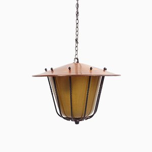 Entrance Lantern Ceiling Lamp with Yellow Glass, 1950s