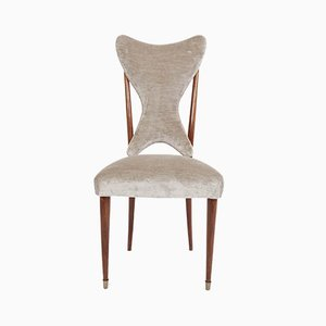 Italian Pearl Gray Velvet Dining Chairs by Ico Parisi, 1950s, Set of 6