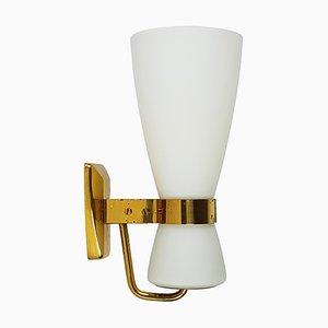 Große Opalglas & Messing Modell 2118 Wandlampe von Stilnovo, 1950er