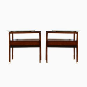 Mid-Century Italian Rosewood and Marble Nightstands, 1960s, Set of 2