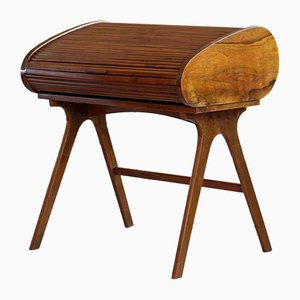 Mid-Century Walnut Veneer Roll Top Desk, 1950s