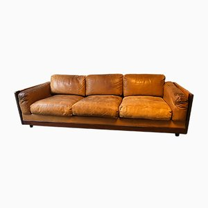 Italian Rosewood and Leather 3-Seater Sofa by Tobia & Afra Scarpa for Cassina, 1960s