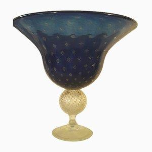 Vase Mid-Century Bleu en Verre Murano