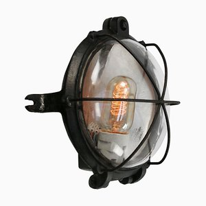 Vintage Industrial Round Black Cast Iron and Industrial Clear Glass Sconce